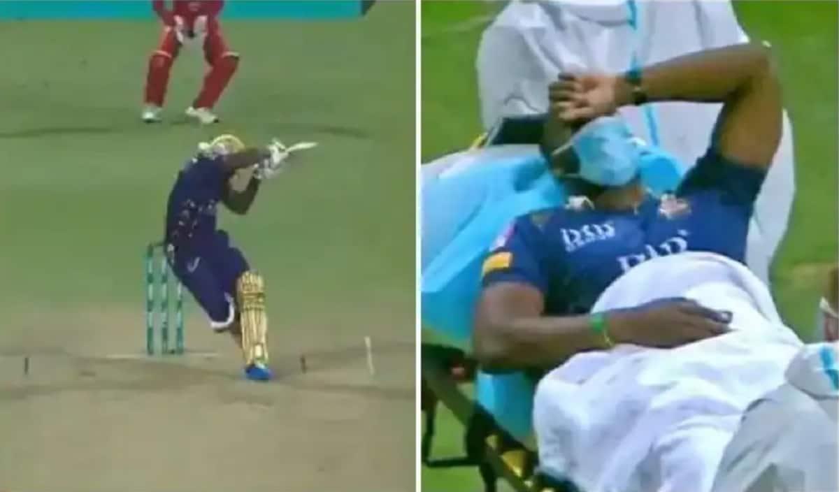 Cricket Image for आंद्रे रसेल के हेलमेट पर लगी गेंद, बीच मैच में स्ट्रैचर पर गए मैदान से बाहर, देखें