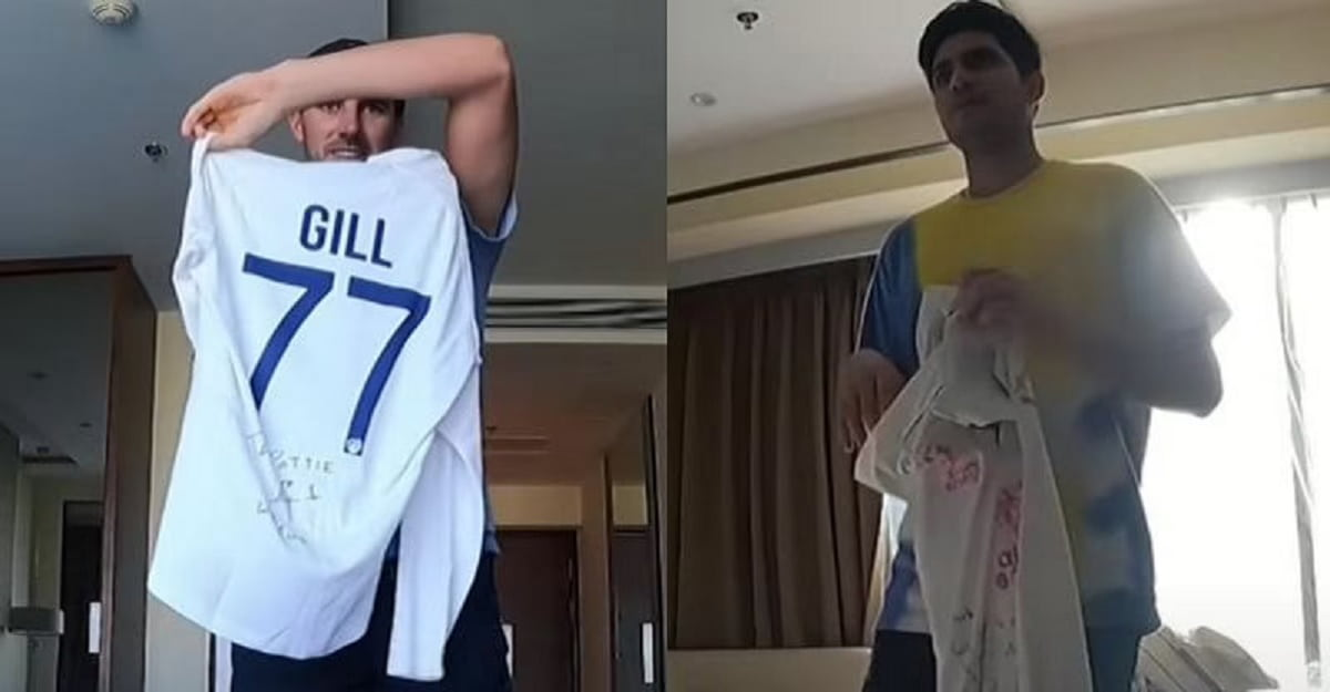 [VIDEO] Pat Cummins exchanges Test jersey with Shubman Gill in latest vlog