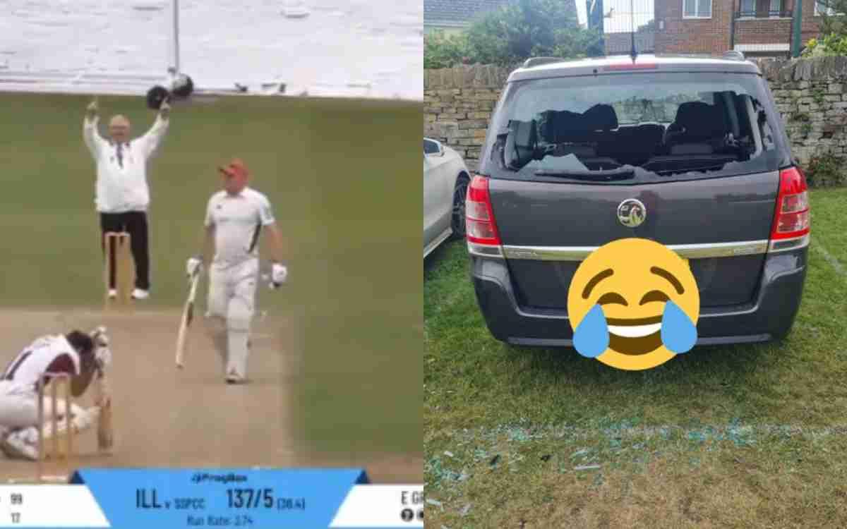 Cricket Image for VIDEO : छक्का मारकर तोड़ा अपनी ही गाड़ी का शीशा,  बीच मैदान घुटनों पर गिरा खिलाड़ी