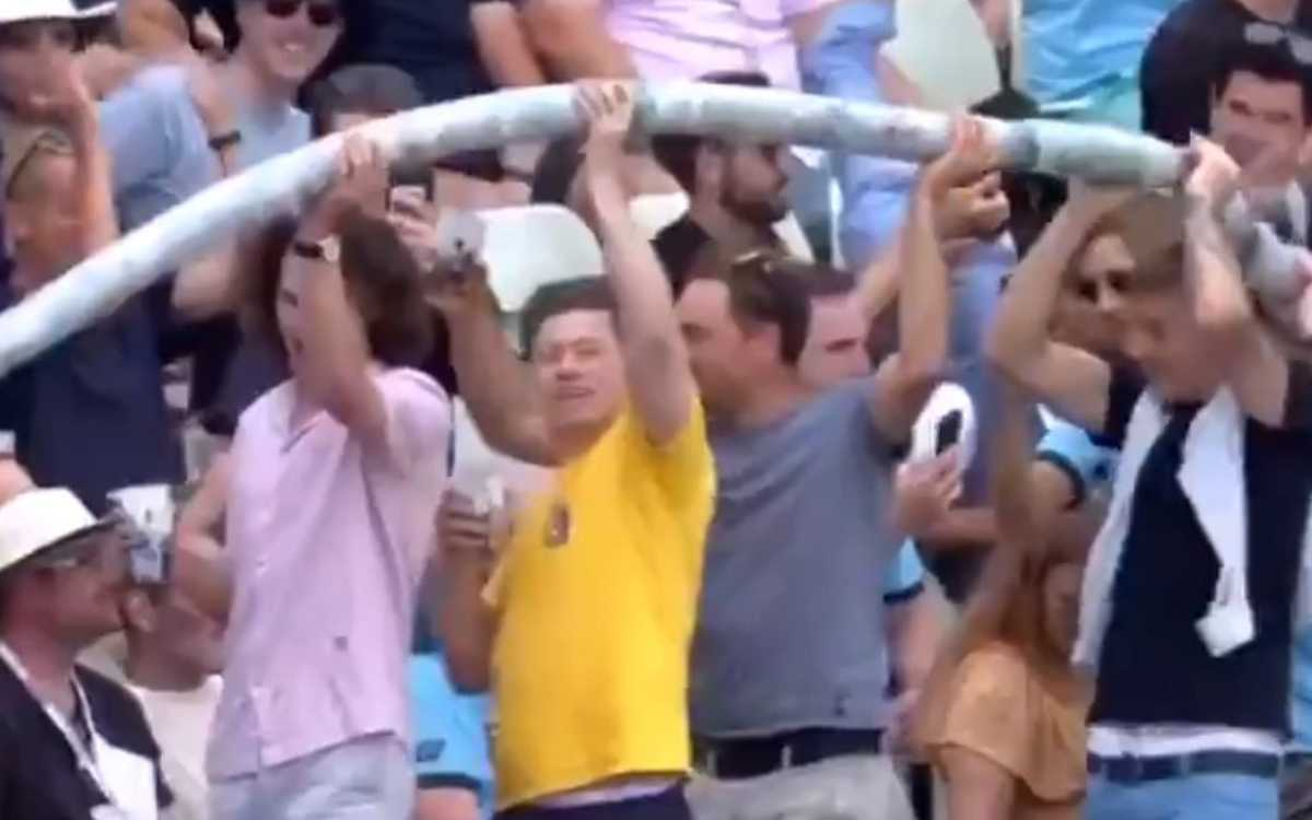 Cricket Image for VIDEO : एजबेस्टन में पुराने रंग में लौटे फैंस, स्टेडियम में दिखा 'BEER SNAKE' का ज