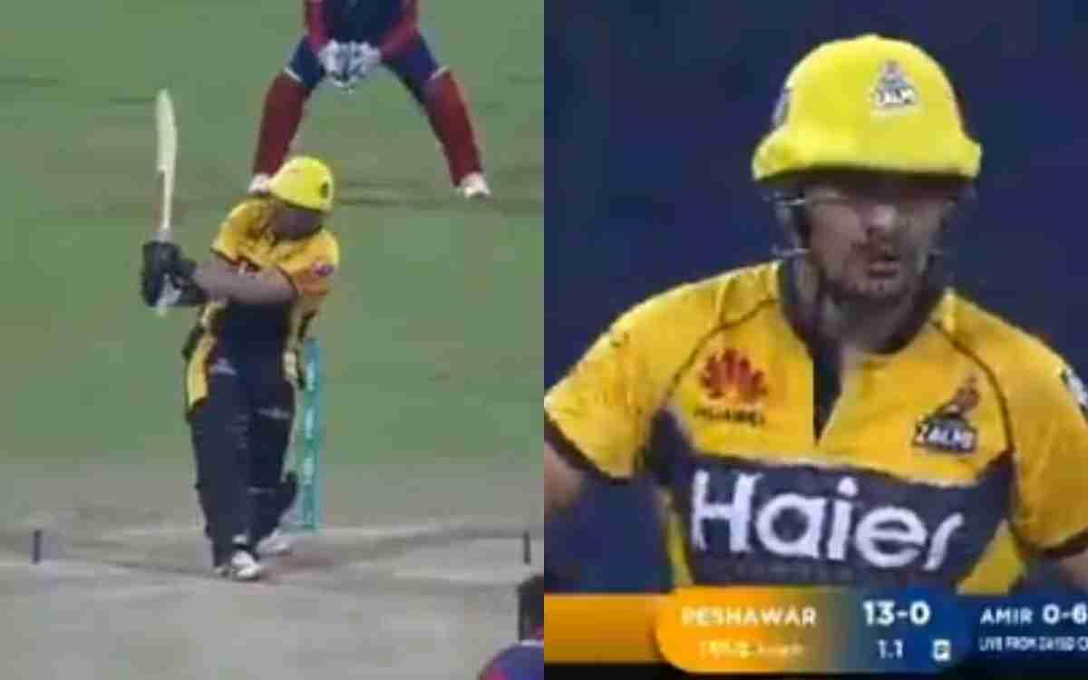 Cricket Image for VIDEO : जज़ई ने 'SWAG' से किया आमिर का स्वागत, पहली ही गेंद पर लगाया लंबा छक्का