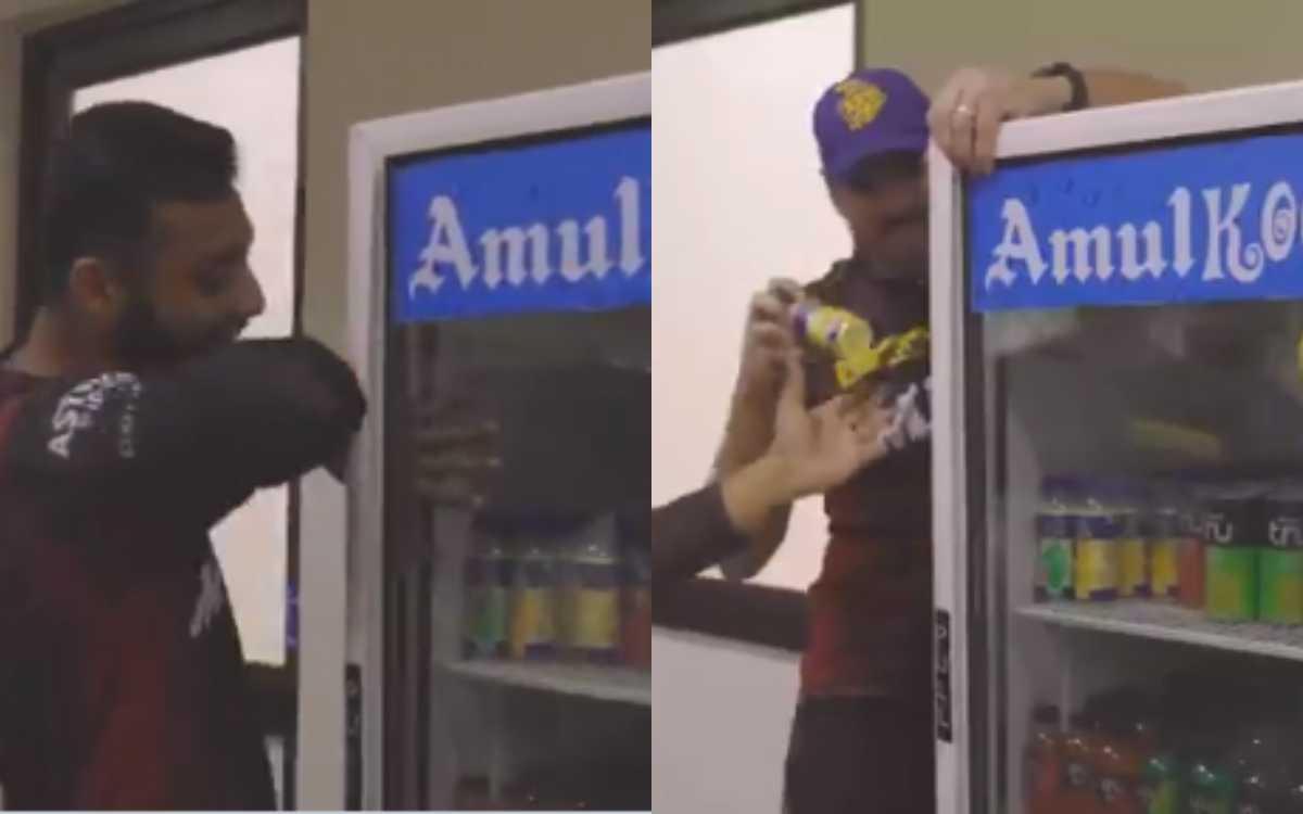 Cricket Image for KKR ने शेयर किया बॉलिंग कोच काइल मिल्स और वरुण चक्रवर्ती का 'Funny' वीडियो
