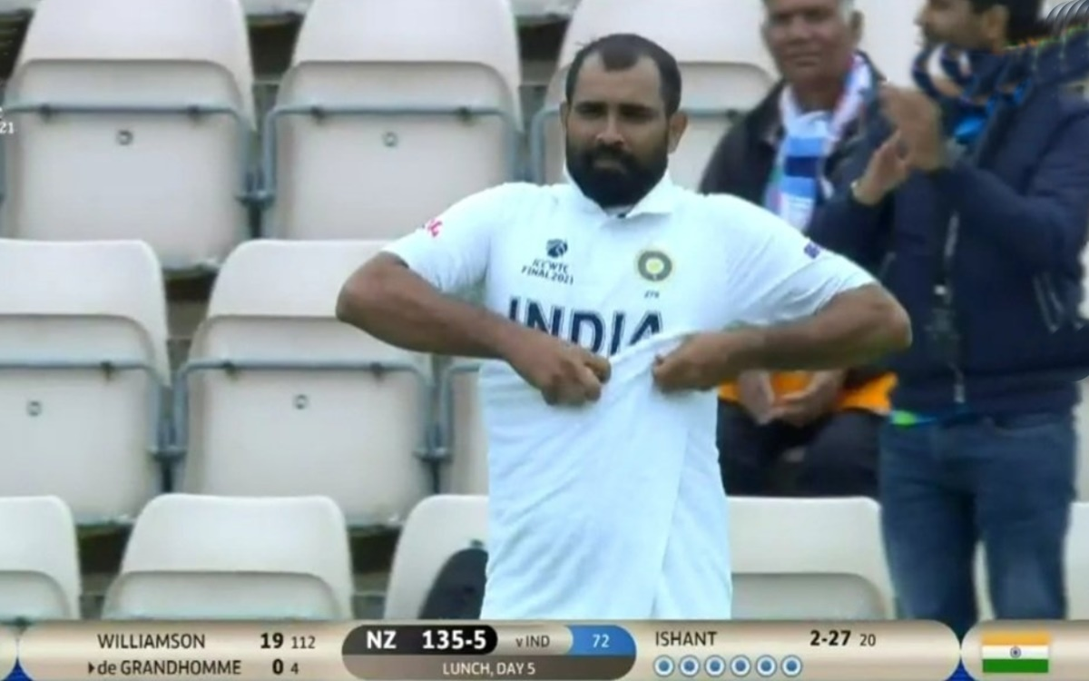 Cricket Image for Wtc Final Mohammed Shami Wears Towel Watch Video