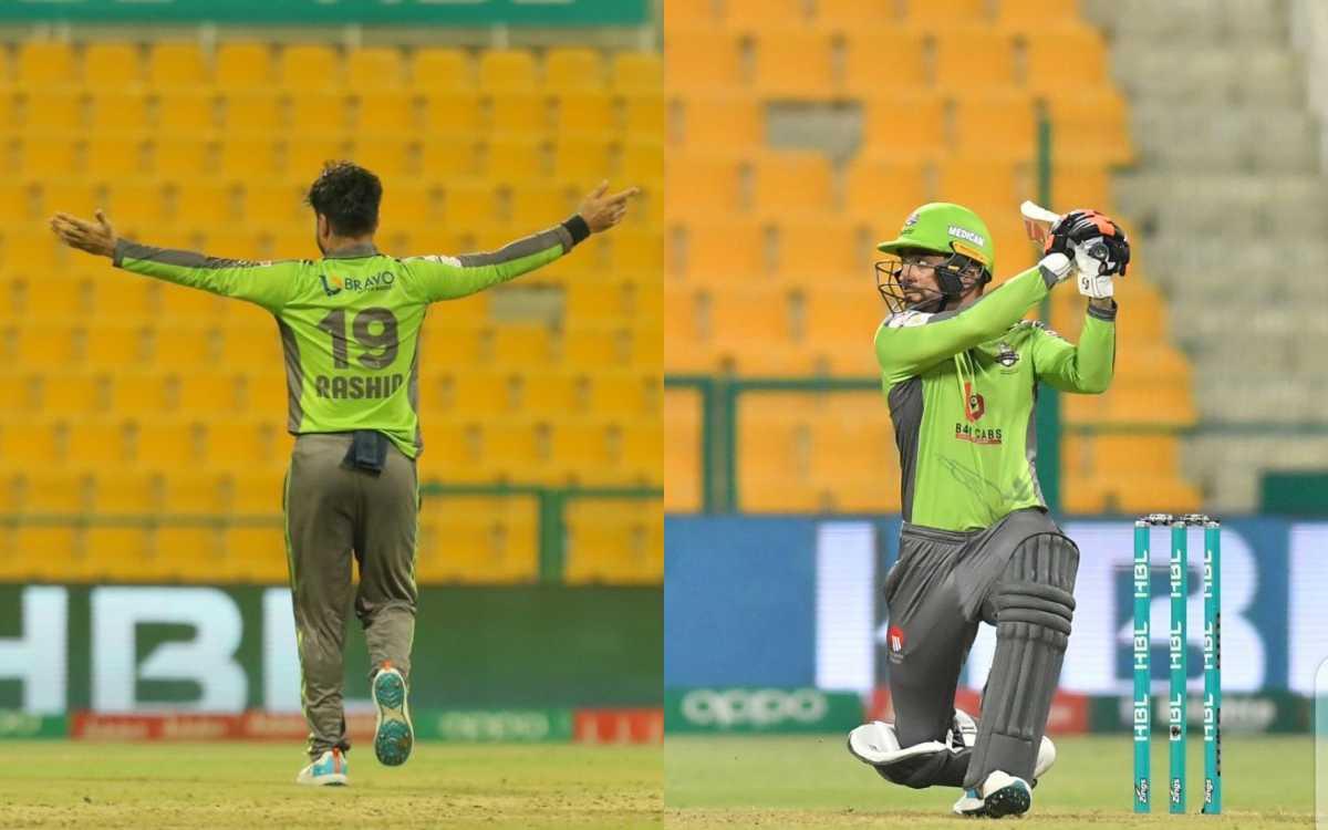 Cricket Image for VIDEO : 5 गेंदों में 15 रन और 4 ओवर में 9 रन देकर 1 विकेट, राशिद खान की आतिशबाज़ी