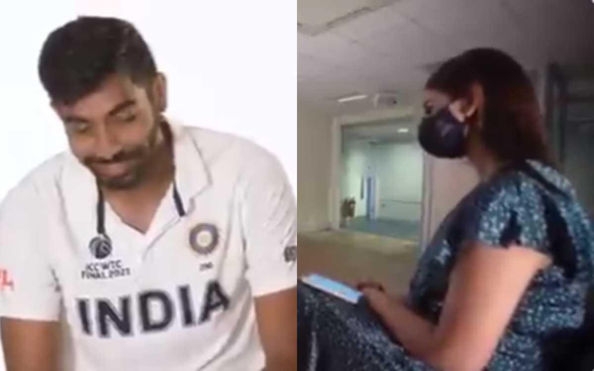 Cricket Image for VIDEO : पत्नी संजना ने लिया बुमराह का मज़ेदार इंटरव्यू, शर्टलेस फोटो को लेकर भी दि