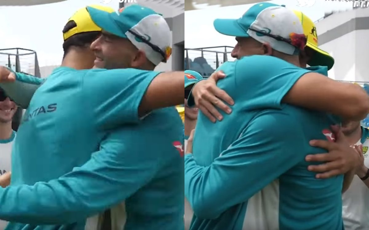 Cricket Image for Emotional Moment For Ashton Agar As He Hands His Brother Wes An Odi Cap