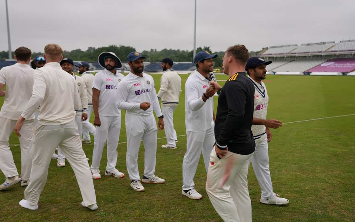 Cricket Image for प्रैक्टिस मैच: ड्रॉ पर खत्म हुआ भारत बनाम काउंटी XI मुकाबला, रवींद्र जडेजा चमके