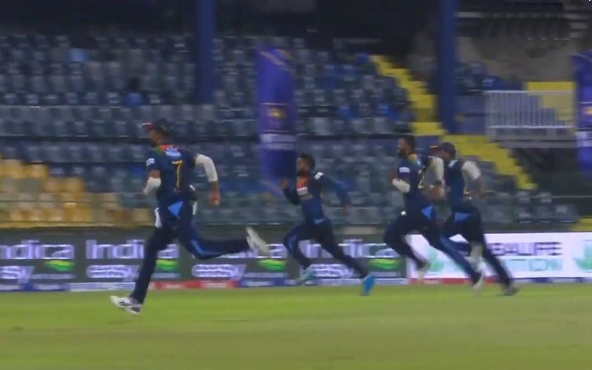 Cricket Image for India Vs Sri Lanka 3rd T20i 4 Sri Lankan Players Run After The Ball