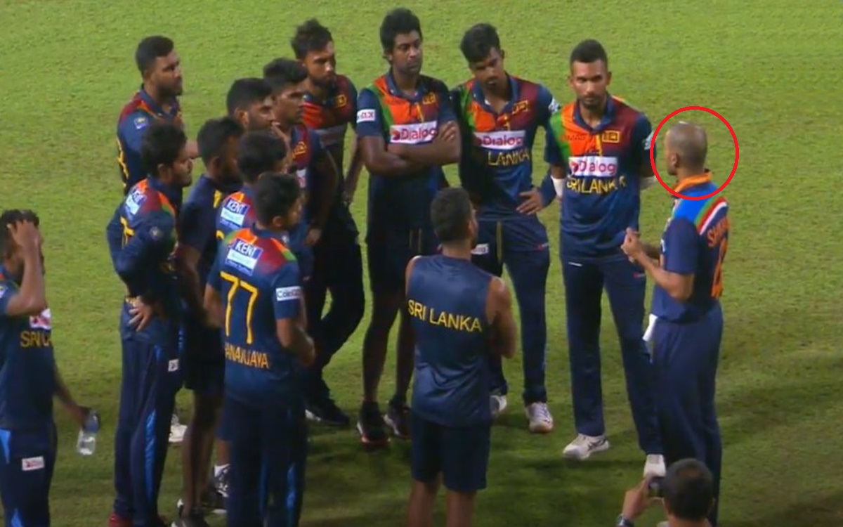 Cricket Image for India Vs Sri Lanka Shikhar Dhawan Was Surrounded By The Sri Lanka Team Watch Video