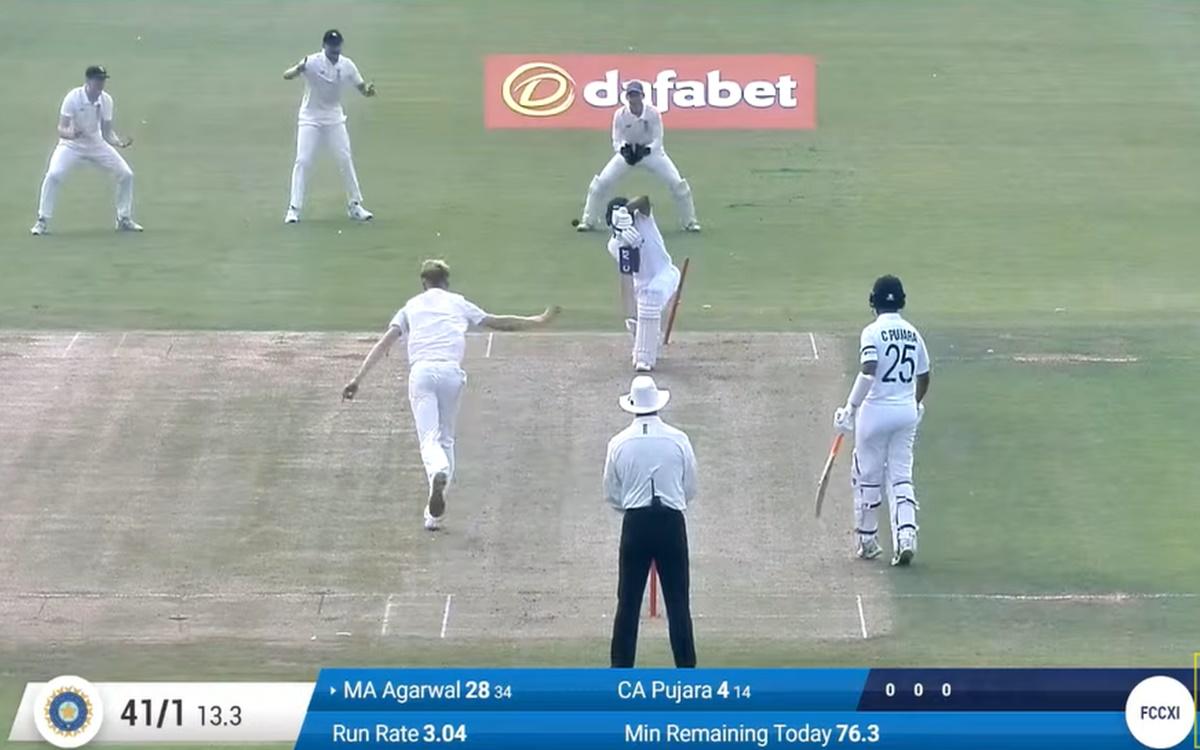 Cricket Image for County Xi V India Day 1 Mayank Agarwal Departs From 28 Runs Watch Video