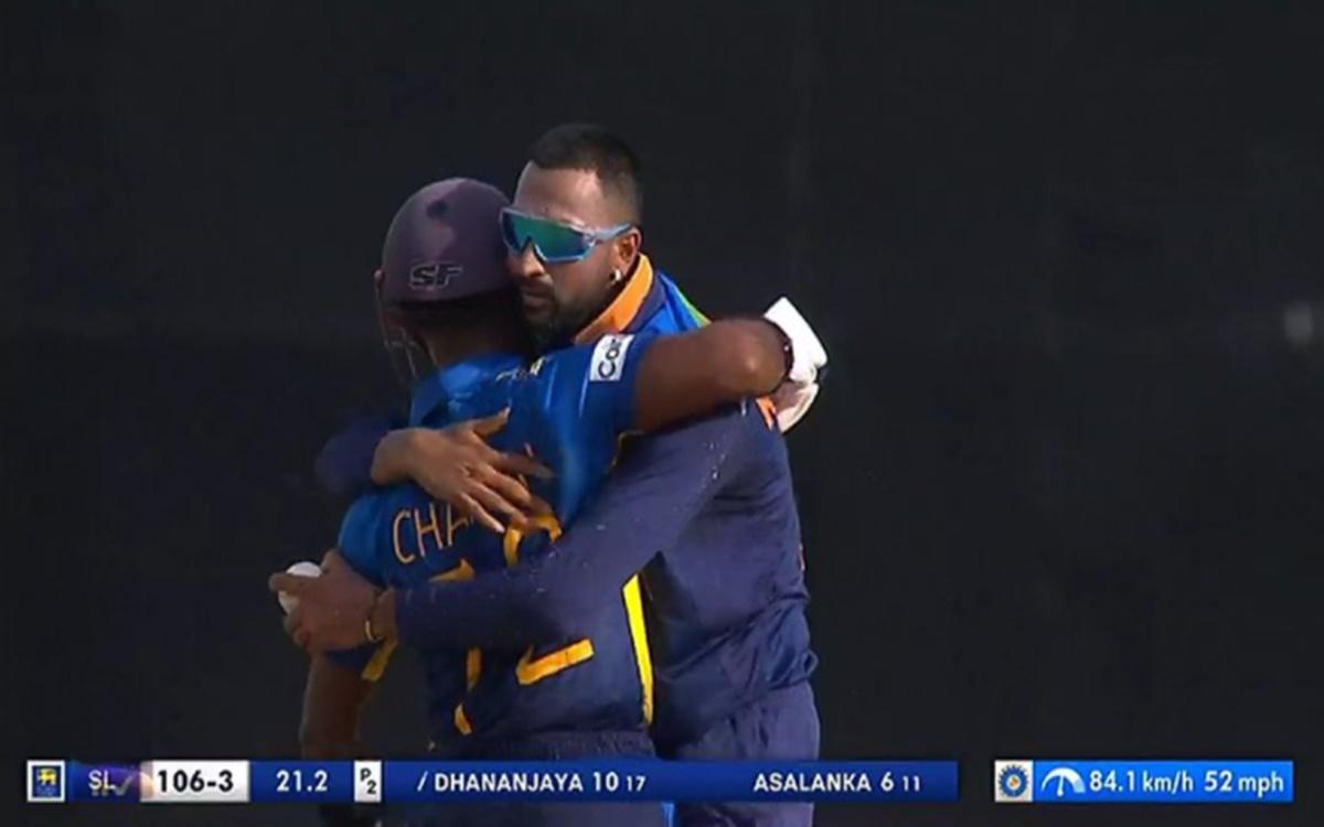 Cricket Image for Sl V Ind 2021 Twitter Reaction After Krunal Pandya Hugging Charith Asalanka