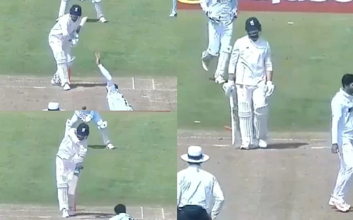 Umesh Yadav bowls an outstanding delivery to dismiss Will Rhodes in the practise match