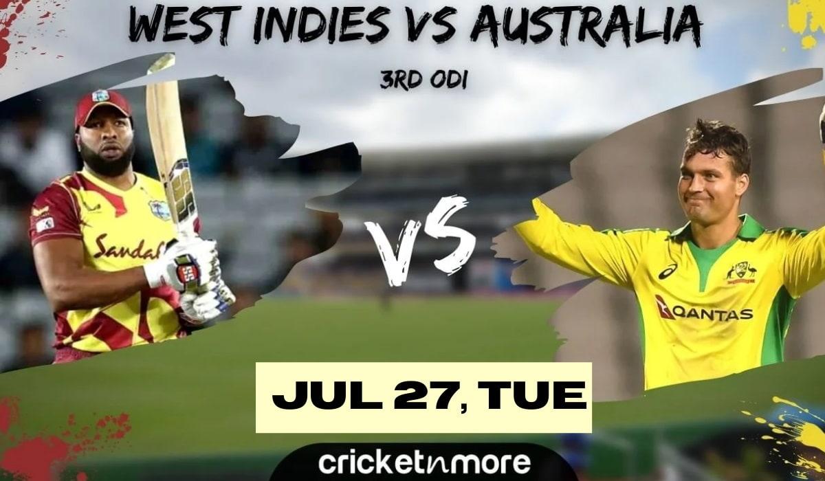 Cricket Image for वेस्टइंडीज बनाम ऑस्ट्रेलिया, तीसरा वनडे - भविष्यवाणी, फैंटेसी XI टिप्स और संभावित