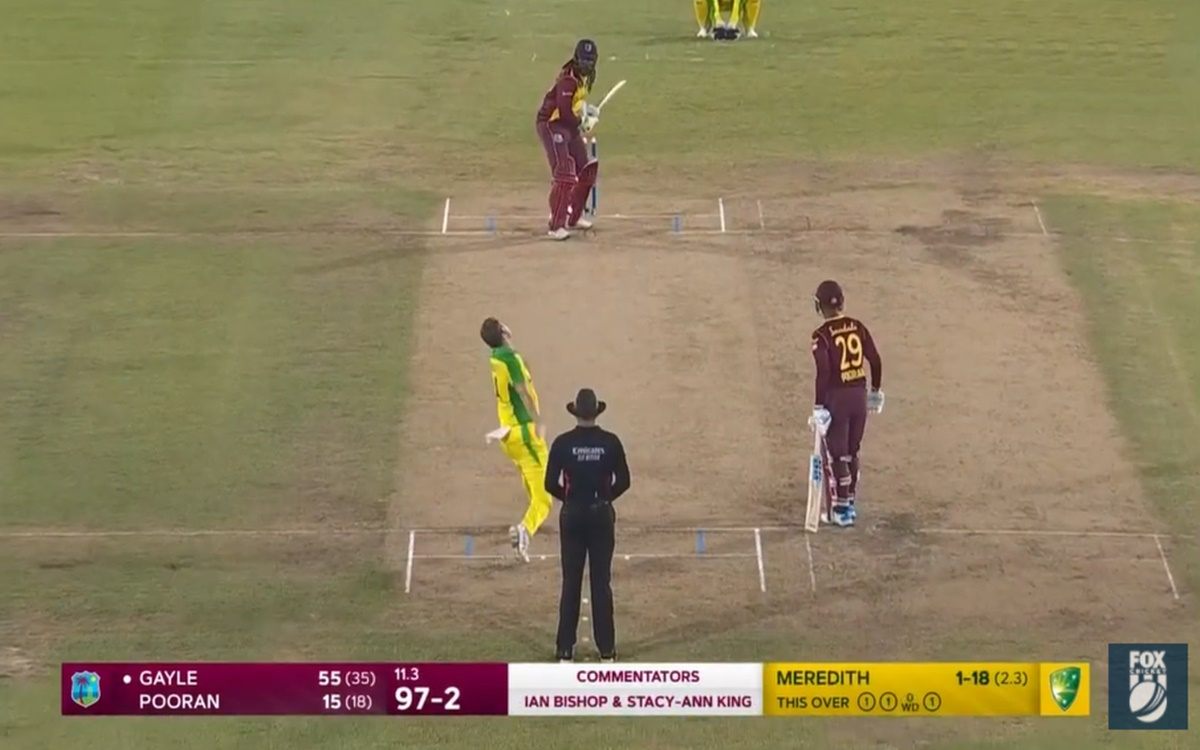 Cricket Image for West Indies Vs Australia 3rd T20 Chris Gayle Massive Six Against Riley Meredith Bo
