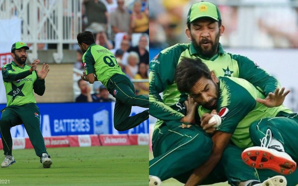 Cricket Image for VIDEO : बाउंड्री पर बाल-बाल बचे दोनों फील्डर, टकराने के बावजूद राउफ ने पकड़ा करिश्