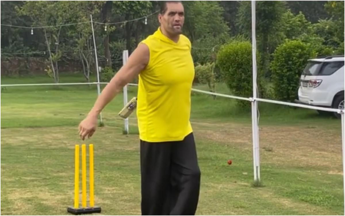 Cricket Image for VIDEO : 7 फीट 1 इंच के ग्रेट खली ने भी थामा बल्ला, फैंस बोले- 'सर, क्रिकेट बैट पकड