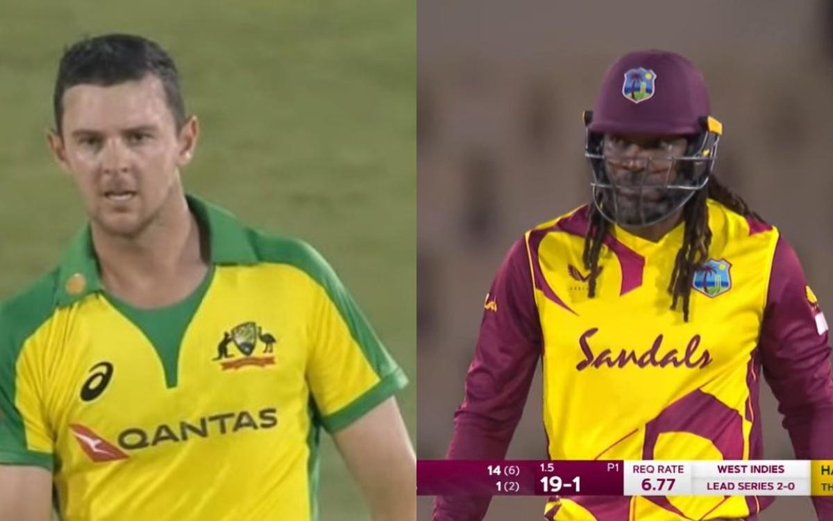 Cricket Image for '48 घंटों में ही बदल गया पूरा खेल', हेज़लवुड के पहले ही ओवर में गेल ने की चौके-छक्