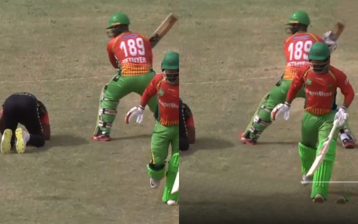 Cricket Image for Dwayne Bravo Falls Down While Fielding Watch Shimron Hetmyer Reaction