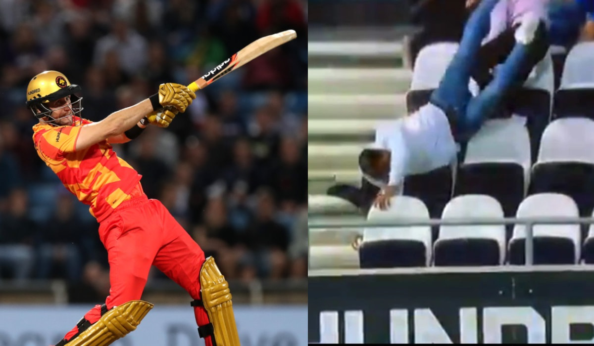 Fan falls over empty seats while catching Livingstone's massive six- VIDEO