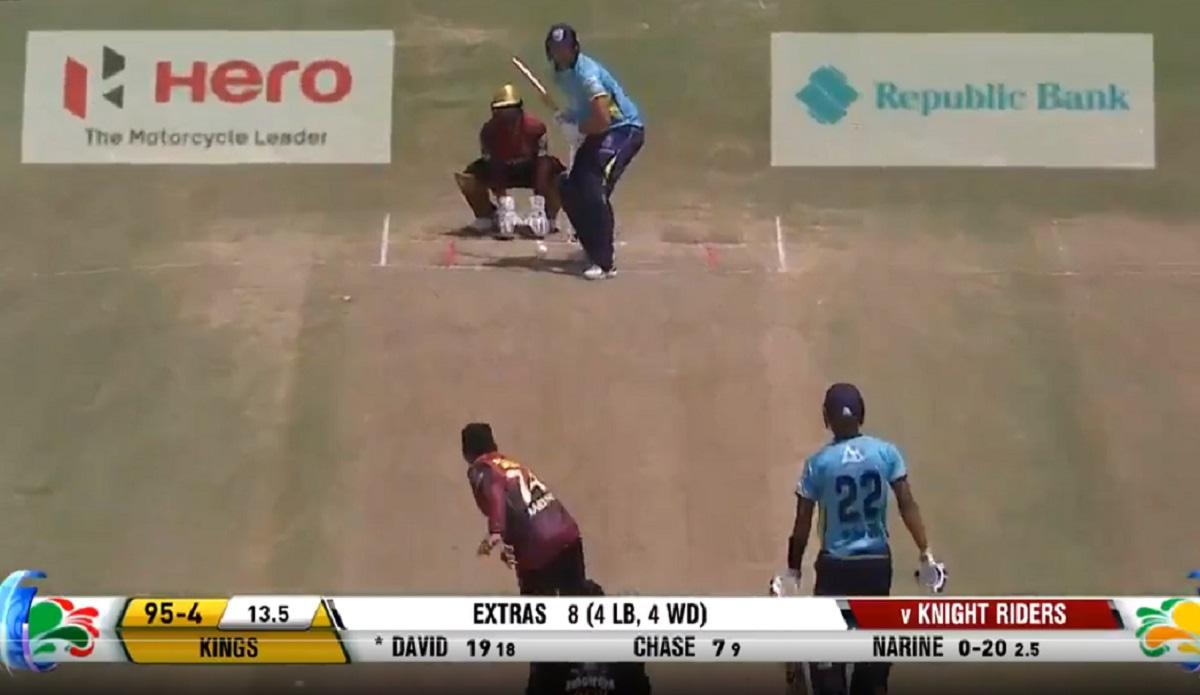 Watch - Tim David smashes a long six against Sunil Narine