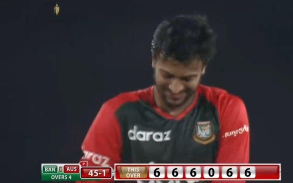 Cricket Image for VIDEO : 6,6,6,6,0,6, शाकिब के एक ओवर में क्रिस्चन ने उड़ाए 5 आतिशी छक्के