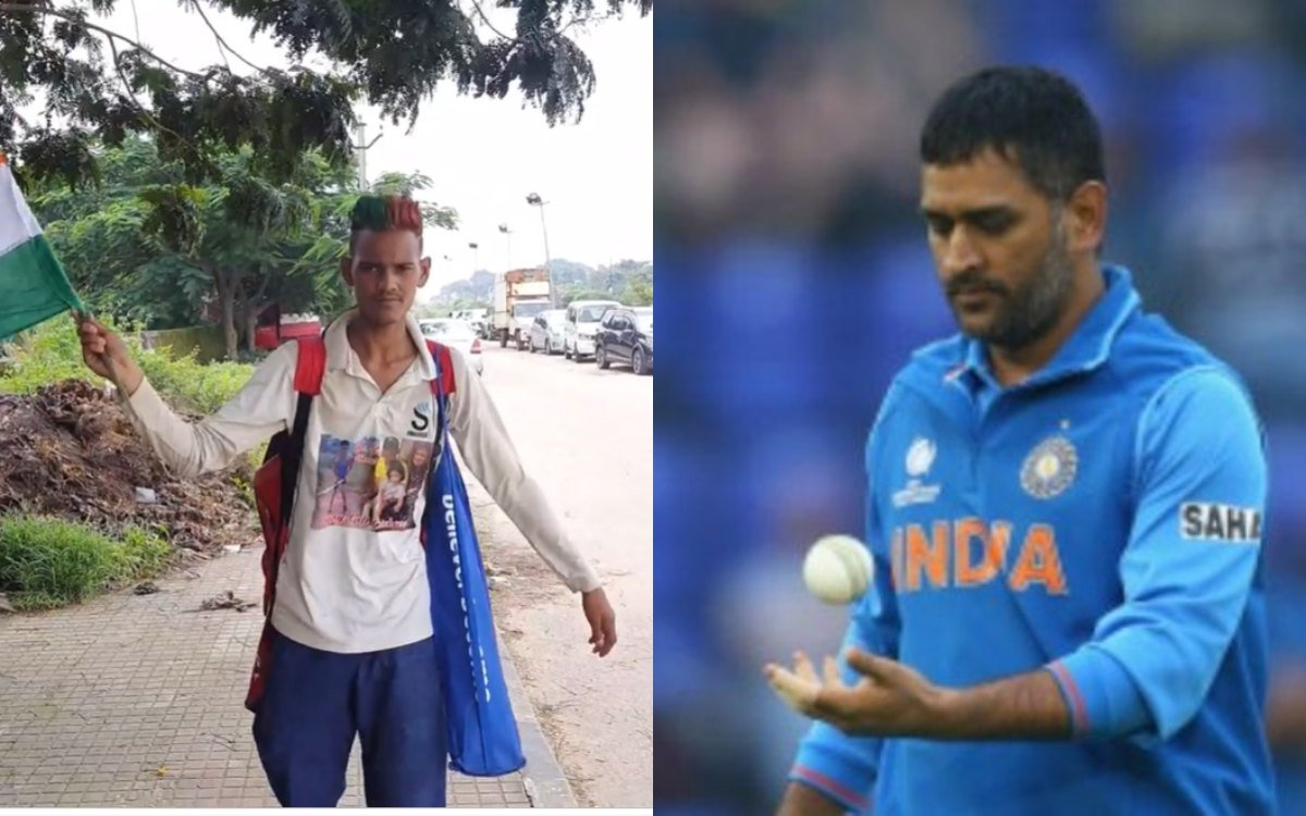 Cricket Image for Fan Reached Ranchi On Foot From Haryana To Meet Ms Dhoni Watch Video