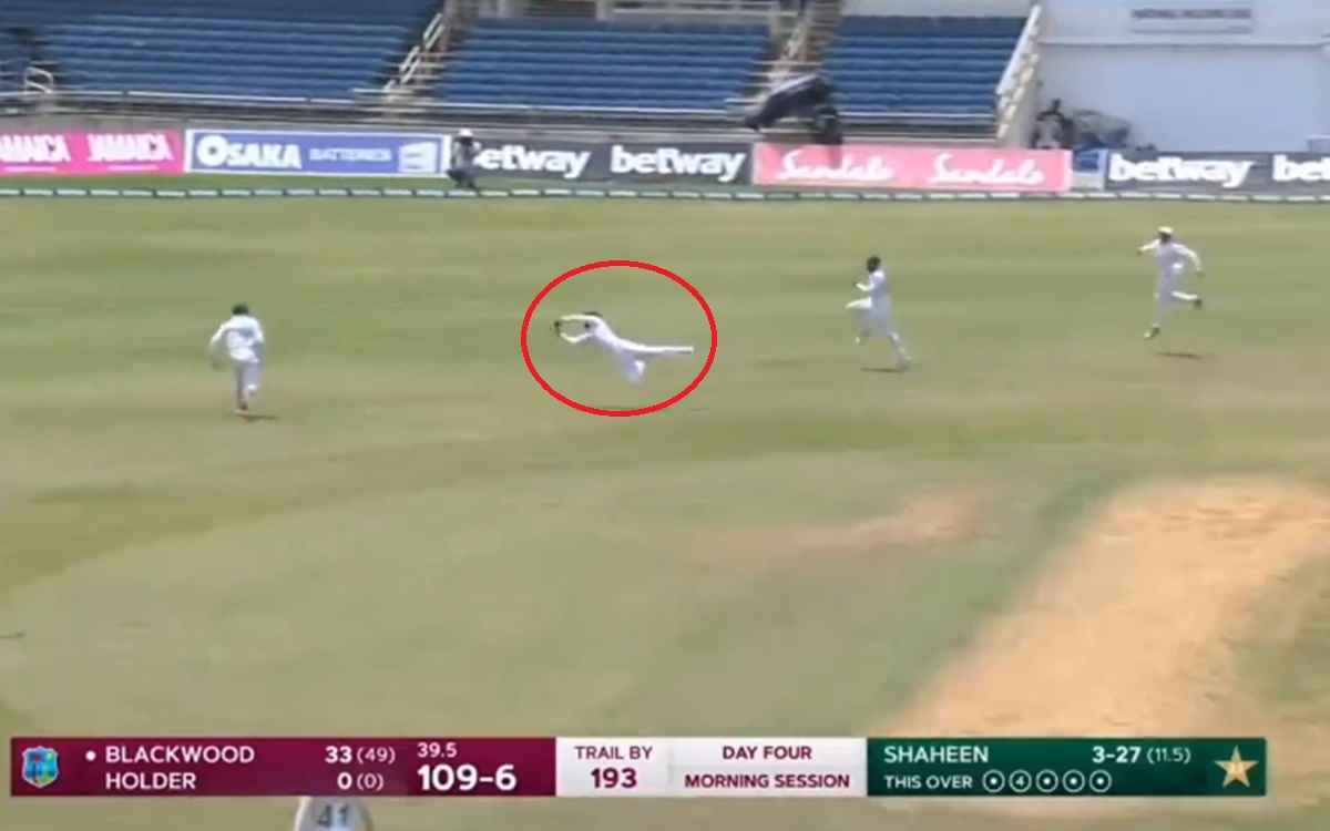 Cricket Image for Fawad Alam Takes A Superb Catch To Dismiss Blackwood Watch Video