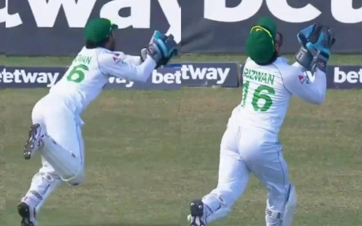 Cricket Image for VIDEO : रिज़वान ने 'थर्ड मैन' तक भाग कर पकड़ा कैच, बाउंड्री लाइन पर ही मनाया खिलाड