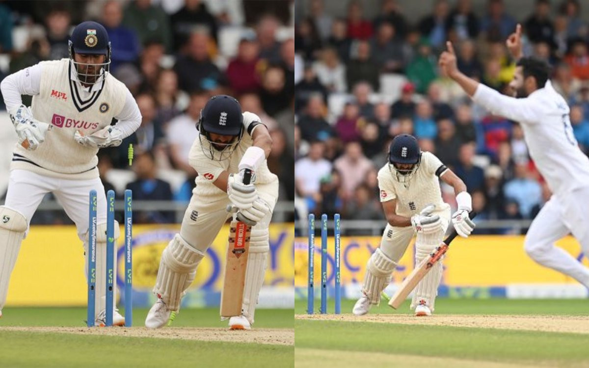 Cricket Image for VIDEO : जडेजा ने उड़ाए हमीद के होश, क्लीन बोल्ड करके लिया सीरीज़ में पहला विकेट