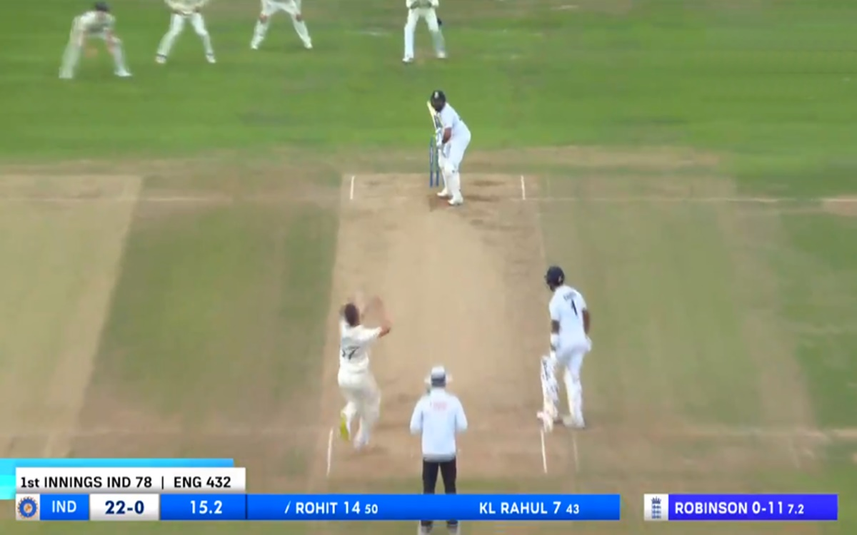 Cricket Image for Eng Vs Ind Rohit Sharma Monster Six To Ollie Robinson Bowling