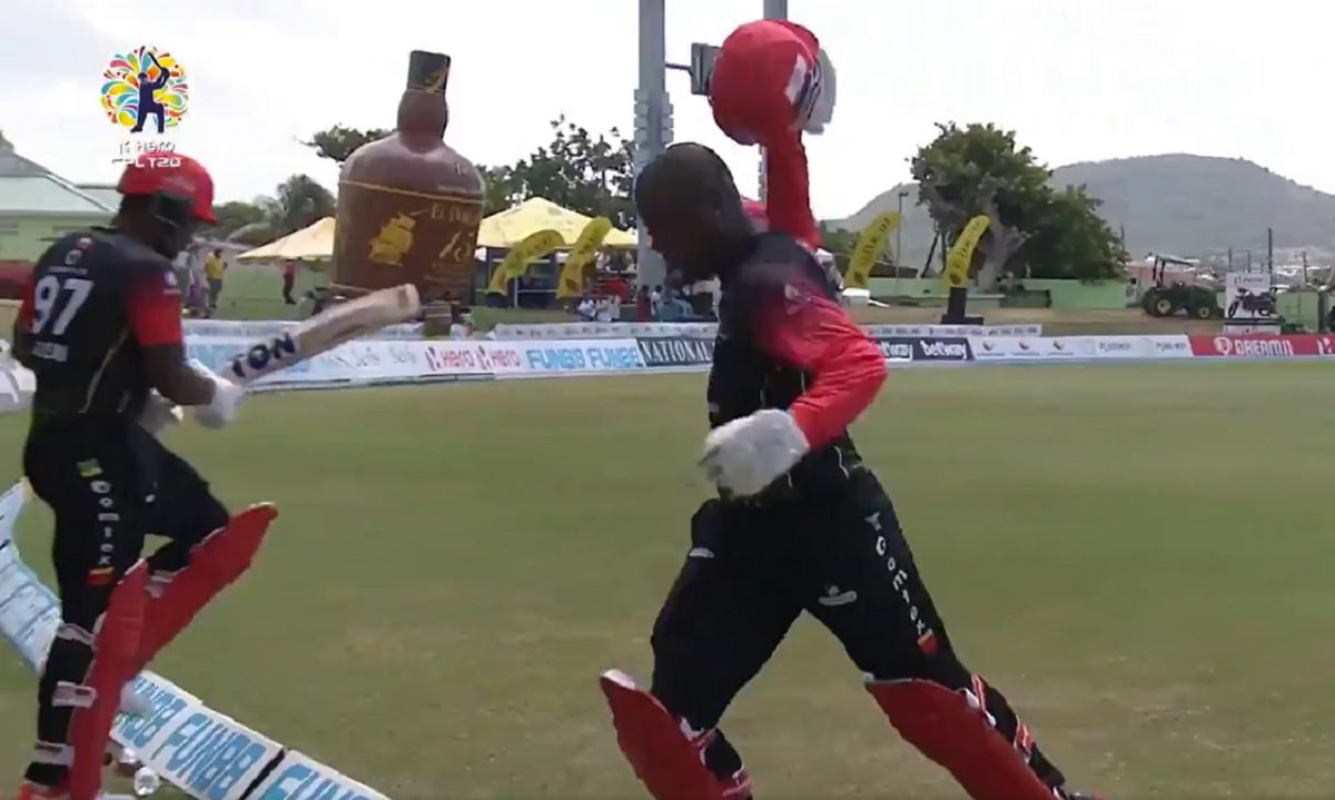CPL 2021 - Furious Sherfane Rutherford throws away cricketing gear after being dismissed run-out