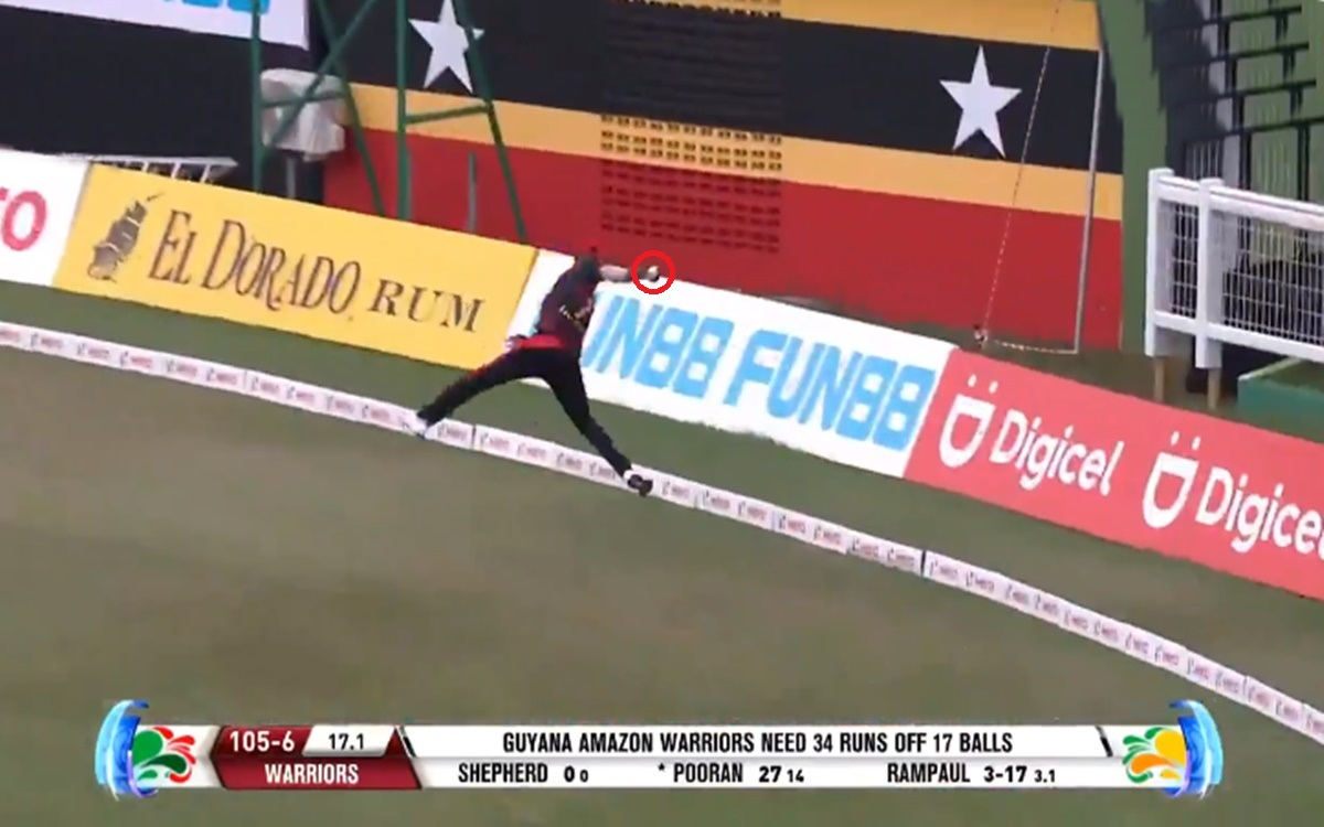 Cricket Image for Cpl 2021 Akeal Hosein One Of The Greatest Catches Ever Watch Video
