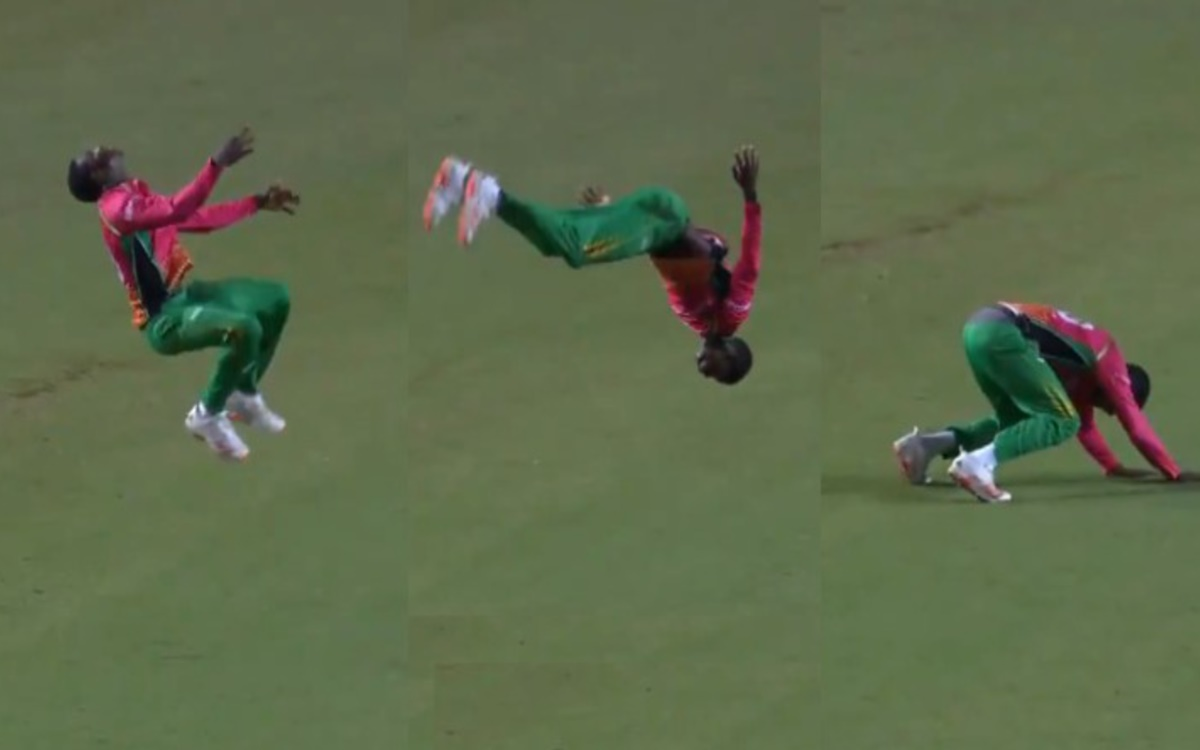 Cricket Image for Cpl 2021 Kevin Sinclair Does A Somersault After Taking Chris Gayle Wicket Watch Vi