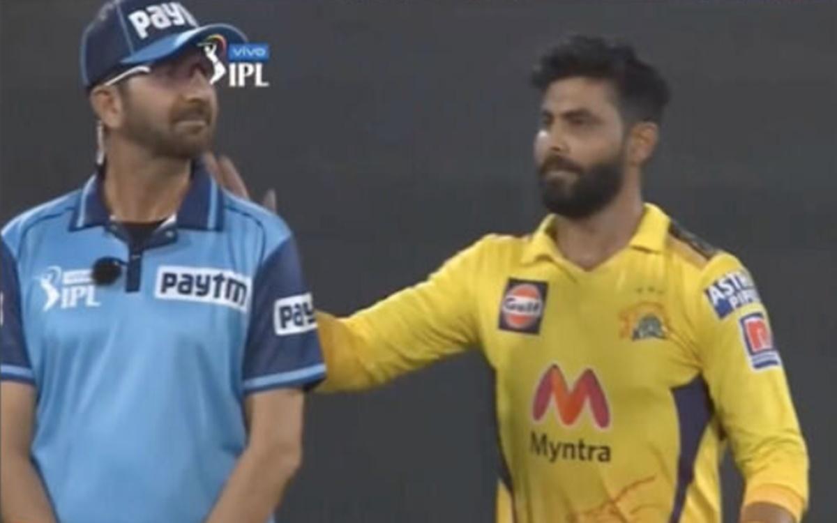 Cricket Image for Ipl 2021 Csk Allrounder Ravindra Jadeja Pats Umpire Back Watch Video