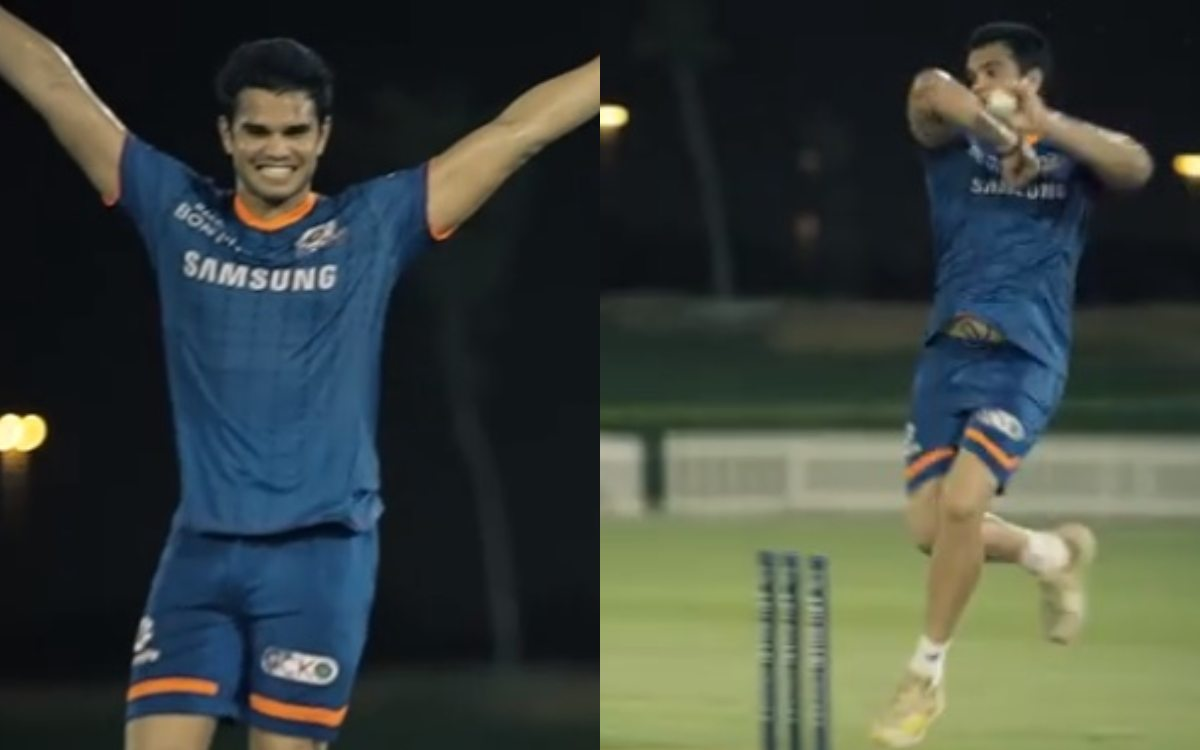 Cricket Image for Ipl 2021 Sachin Tendulkar Son Arjun Hit Bulls Eye In Training Watch Video