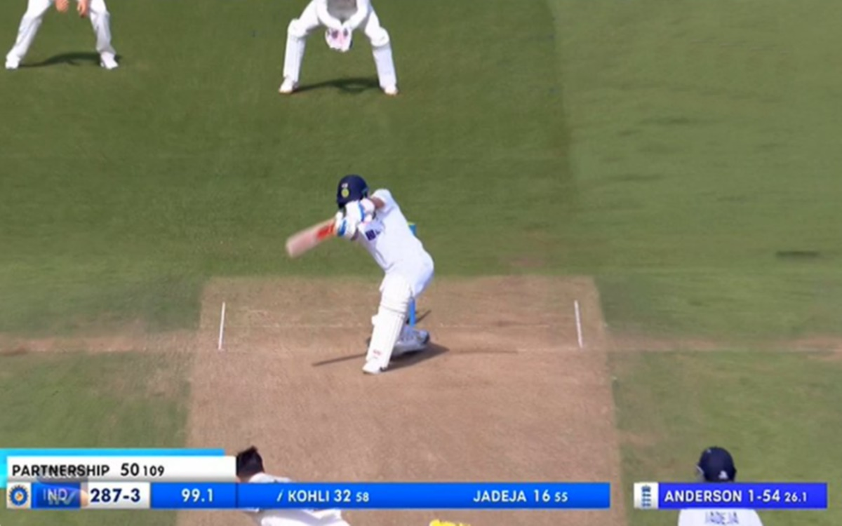 Cricket Image for India Vs England Virat Kohli Cover Drive Off James Anderson Ball Watch Video