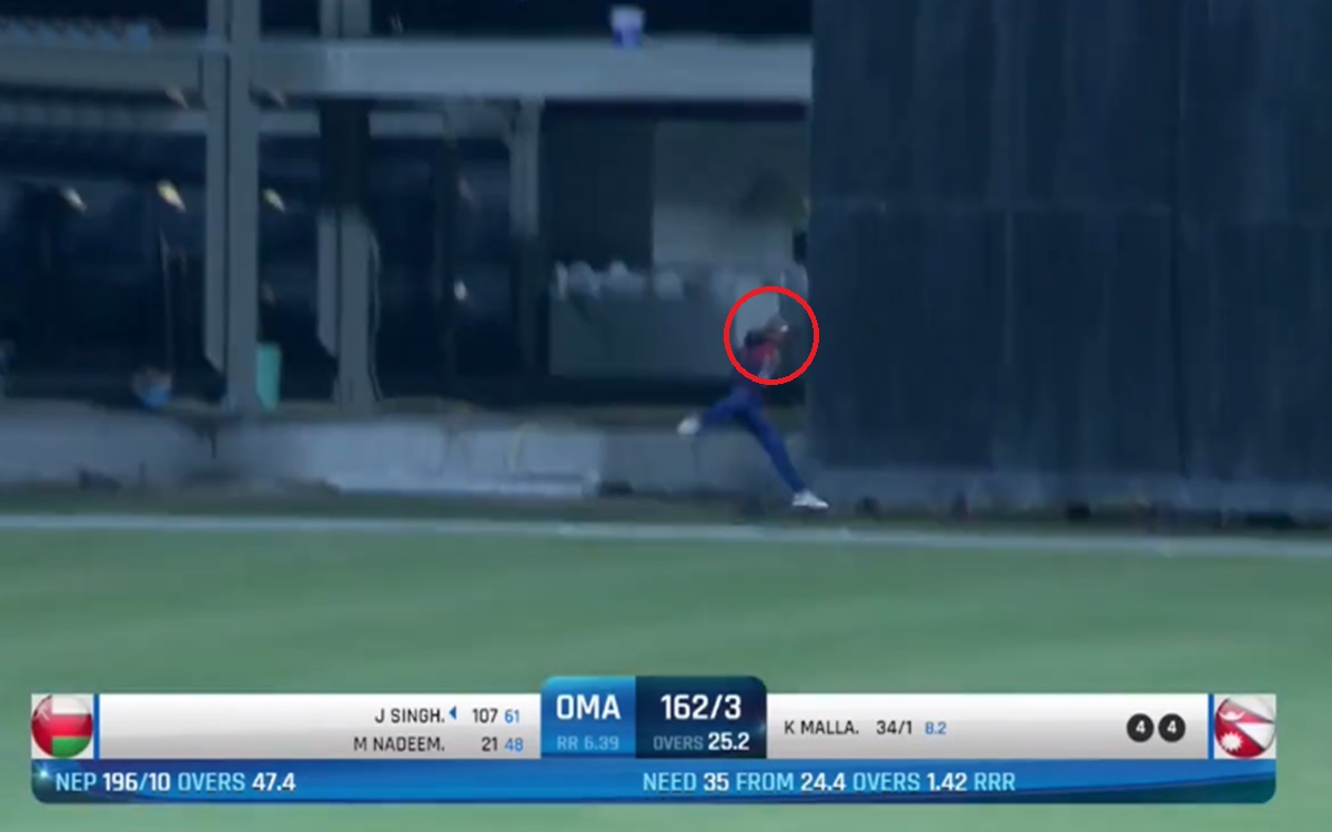 Cricket Image for Oman Vs Nepal Nepal Cricketer Rohit Paudel Brilliant Catch Watch Video