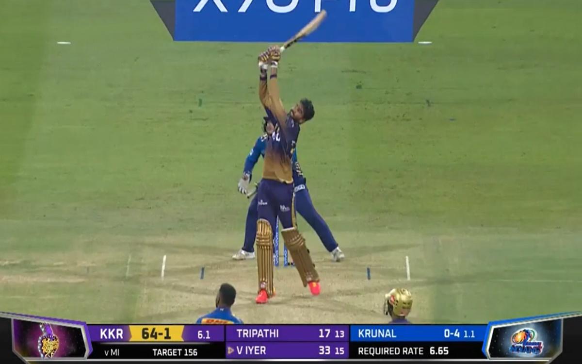 Cricket Image for Mi Vs Kkr Venkatesh Iyer Six Against Krunal Pandya Bowling Watch Video