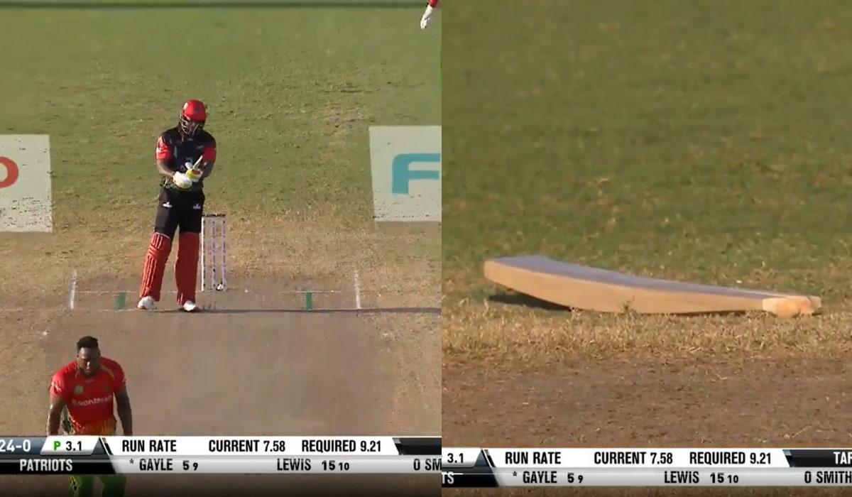 Video Chris Gayle bat cracks in between the ground