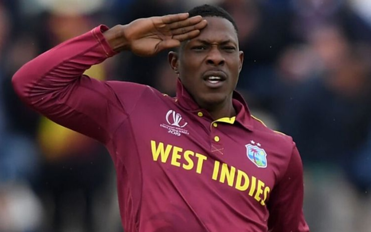 Cricket Image for West Indies Pacer Sheldon Cottrell Posting A Message In Hindi