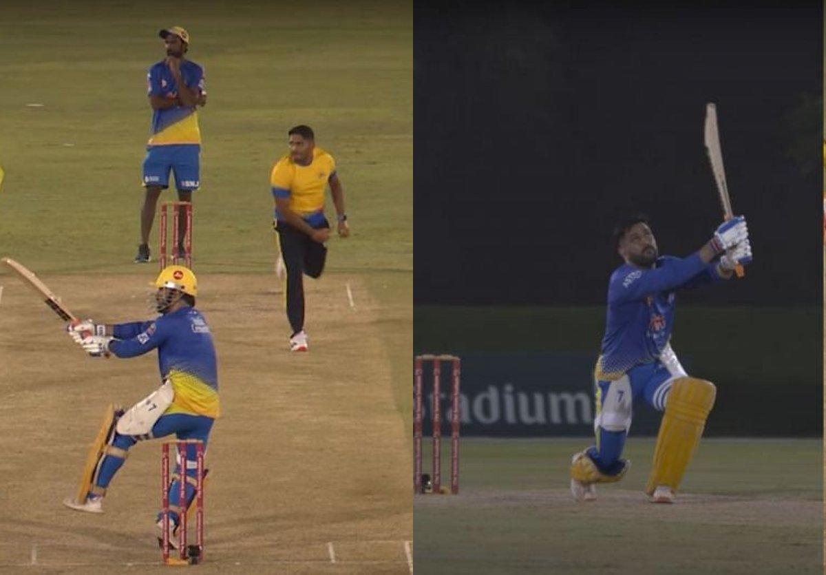 Cricket Image for VIDEO : मैदान पर दिखा धोनी का हेलीकॉप्टर शॉट धूम-धड़ाका, पहले मैच से जमकर बरसाए चौ