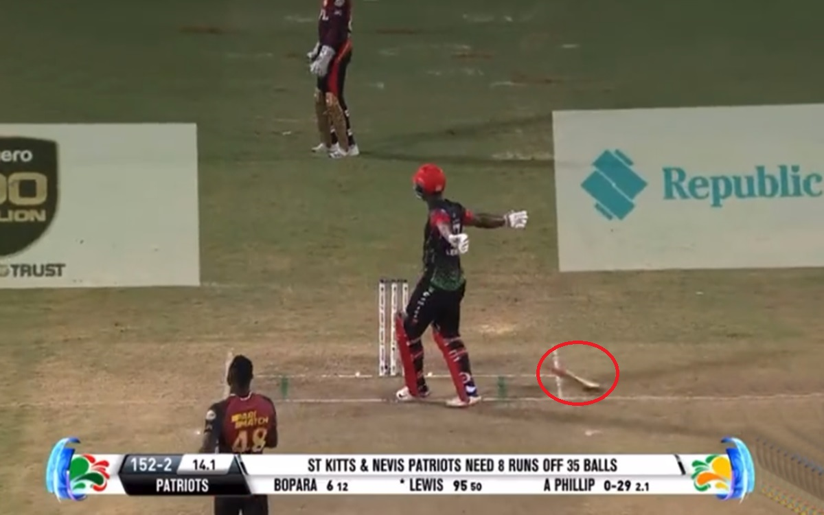 Cricket Image for Cpl 2021 Evin Lewis Celebrates 100 By Throwing A Bat Scoring 86 Runs In 16 Balls