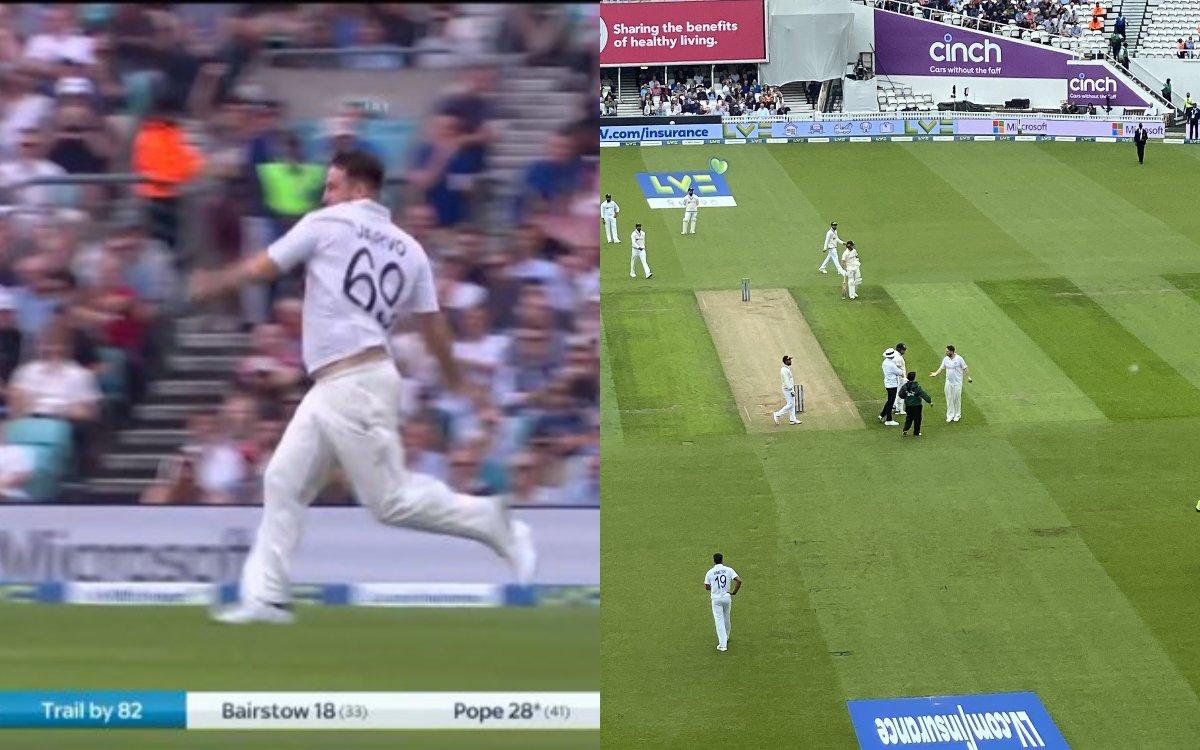 Cricket Image for VIDEO : 4 टेस्ट में तीसरी बार मैदान में घुसा ज़ारवो, इस बार बॉलर बनकर मारी एंट्री