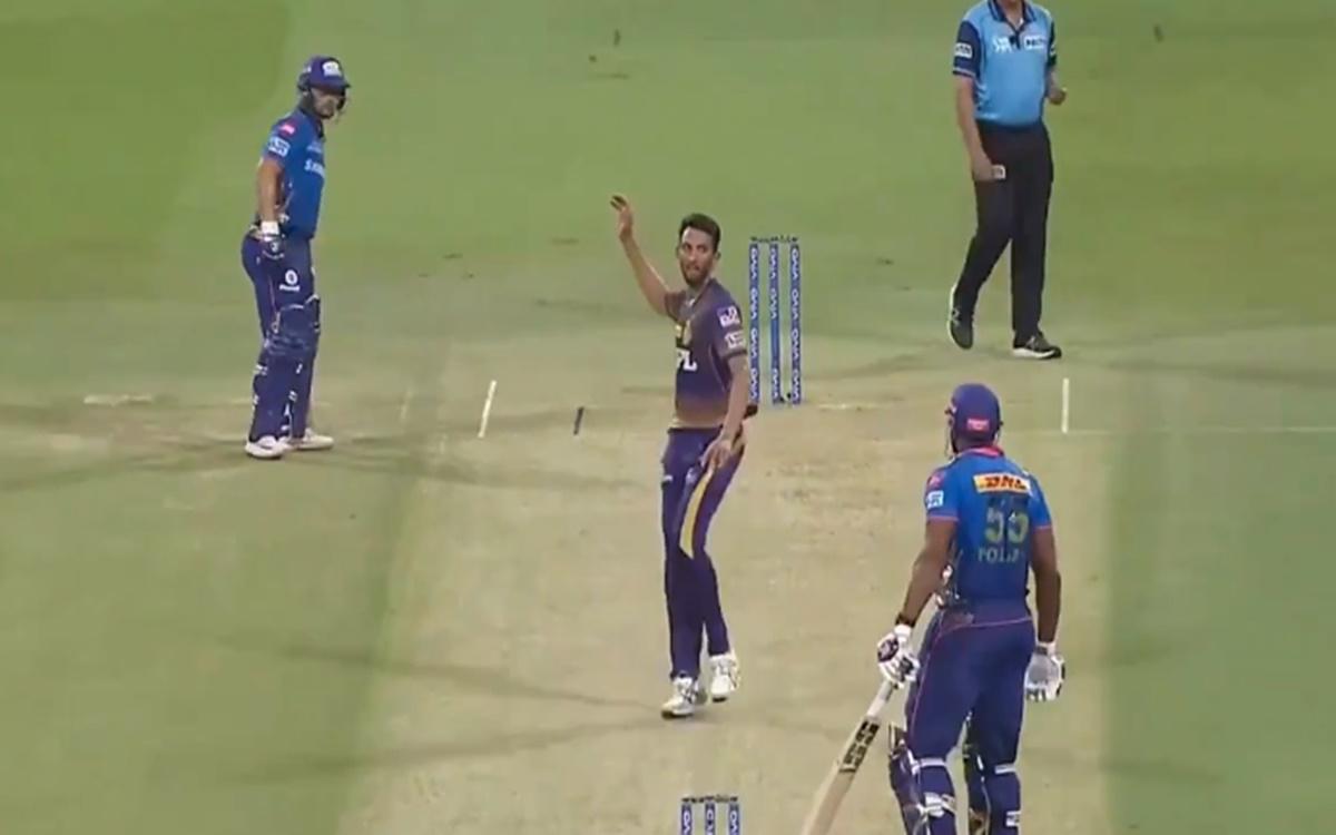 Cricket Image for Mi Vs Kkr Prasidh Krishna Fight With Kieron Pollard Watch Video