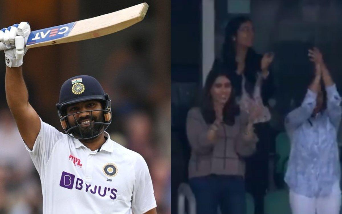 Cricket Image for VIDEO : छक्के के साथ हिटमैन ने पूरी की सेंचुरी, ड्रेसिंग रूम से लेकर वाइफ रितिका क