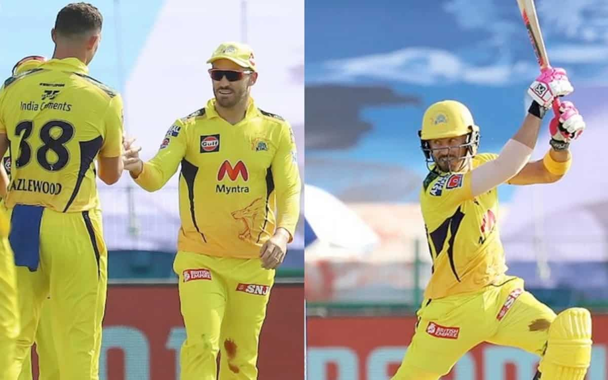 Cricket Image for IPL 2021: Twitter Salutes CSK's Faf Du Plessis For Fielding Despite A Bleeding Kne